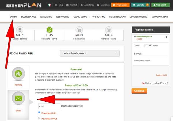 acquistare dominio serverplan