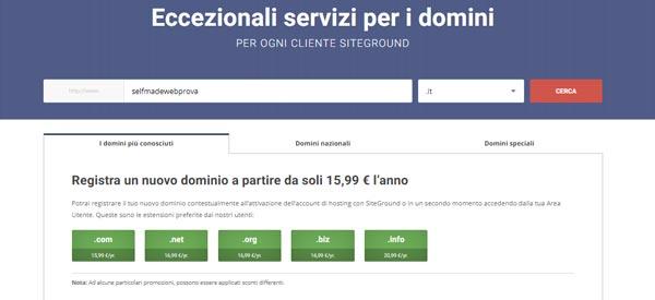 registrazione dominio siteground